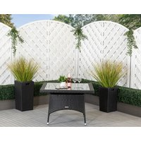 Square Rattan Garden Dining Table in Black - Rattan Direct