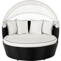 Rattan Garden Day Bed in Black & White - Venice - Rattan Direct