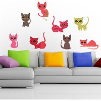 Cats Colour Wall Sticker Set