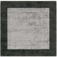 Asiatic Border Square Rug, 160 x 160cm - Silver