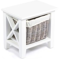 Tocino Ready Assembled X Side 1-Basket Vertical Wooden Storage Unit - White