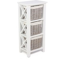 Tocino Ready Assembled X Side 3-Basket Wooden Storage Unit - White