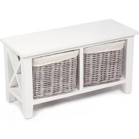 Tocino Ready Assembled X Side 2-Basket Horizontal Wooden Storage Unit