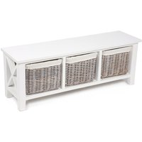 Tocino Ready Assembled X Side 3-Basket Horizontal Wooden Storage Unit - Unit