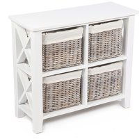 Robert Dyas Tocino Ready Assembled X Side 4-Basket Square Wooden Storage Unit - White