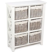 Tocino Ready Assembled X Side 6-Basket Rectangular Wooden Storage Unit - White