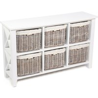 Tocino Ready Assembled X Side 6-Basket Horizontal Wooden Storage Unit - White
