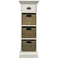 Tocino Ready Assembled 1-Drawer 3-Basket Wooden Storage Unit - White