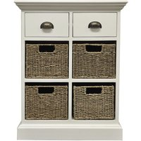 Robert Dyas Tocino Ready Assembled 2-Drawer 4-Basket Wooden Storage Unit - White