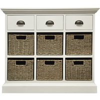 Robert Dyas Tocino Ready Assembled 3-Drawer 6-Basket Wooden Storage Unit - White