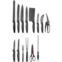 Tower 24-Piece Stone-Coated Knife Set - Black