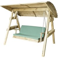 Zest4Leisure Wooden Miami Swing Seat and Cushion - Green