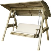 Zest4Leisure Wooden Miami Swing Seat and Cushion - Stone