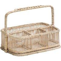 Premier Housewares Rectangular Rattan Caddy Basket - White
