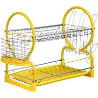 Premier Housewares 2-Tier Dish Drainer - Yellow