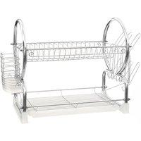 Premier Housewares 2-Tier Dish Drainer - Chrome/White