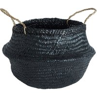 Premier Housewares Modern Retro Seagrass Black Storage Basket - Large