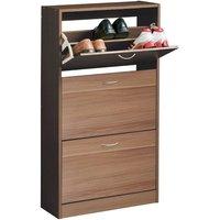 Premier Housewares 3 Drawer Norsk Shoe Cupboard - Walnut Veneer