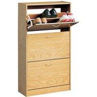 Premier Housewares 3 Drawer Norsk Shoe Cupboard - Oak Veneer