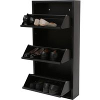 Premier Housewares 3 Drawer Metal Shoe Cupboard - Black