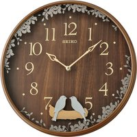 Seiko Swinging Bird Pendulum Wall Clock with Wood Effect Case - Dark Brown