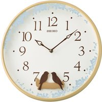 Seiko Swinging Bird Pendulum Wall Clock with Wood Effect Case - Light Brown