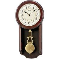 Seiko Westminster/Whittington Dual Chime Wall Clock with Pendulum - Dark Wood