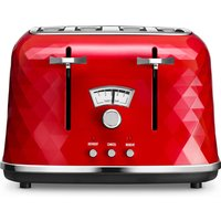 Buy Delonghi De'Longhi CTJ4003R 1800W Brilliante Four-Slice Toaster - Red - Robert Dyas