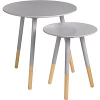 Viborg Round Side Table Set of 2 - Grey