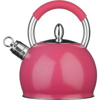 Premier Housewares 2.4L Stainless Steel Whistling Kettle - Hot Pink
