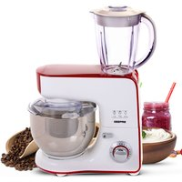 Robert Dyas Geepas MultiOne 1000W 5-in-1 Stand Mixer and Coffee Grinder - Red and White