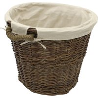 JVL Willow Wicker Log Storage Toy Basket With Rope Handles And Lining 50 x 40cm