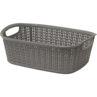 JVL Knit Design Loop Plastic Rectangular Small Storage Basket with Handles Ivory 20 x 26 x 9.5 cm 3 Litres