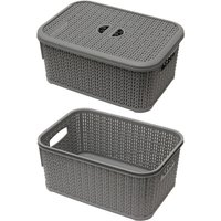 JVL Knit Design Loop Plastic Lidded Rectangular Storage Basket with Handles Grey 20 x 28.5 x 12.5 cm 6 Litres