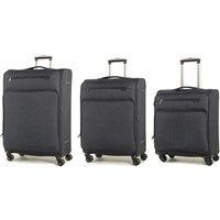 Rock Madison Set of 3 Lightweight Expandable 4-Wheel Spinner Suitcases - Black