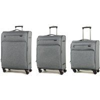 Rock Madison Set of 3 Lightweight Expandable 4-Wheel Spinner Suitcases - Grey