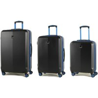 Members by Rock Onyx Luggage Set of 3 Contrast Trim Spinner Hardshell Suitcases - Black/Blue