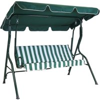 Charles Bentley 2 Seater Swing Seat - Green and White Striped