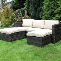 Charles Bentley L-shaped Rattan Corner Sofa Set - Dark Brown and Beige