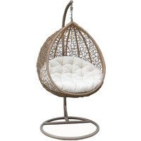 Charles Bentley Hanging Swing Chair Seat - Brown and Cream