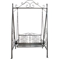 Charles Bentley Wrought Iron Swing Seat Hammock - Grey