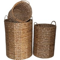 Charles Bentley Hyacinth Wicker Round Storage Basket - Brown