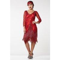 Red Tassel Flapper Dress