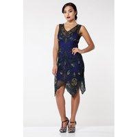 Blue Peacock Flapper Dress