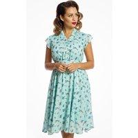 Blue Bird Print Tea Dress