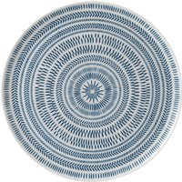 Cobalt Blue Chevron Serving Platter By Ed Ellen Degeneres Crafted By Royal Doulton | Ceramic | 12.7 in W x 12.6 in L x 0.7 in H