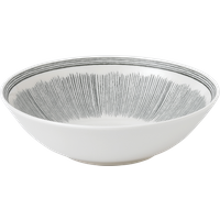 Charcoal Grey Lines Cereal Bowl By Royal Doulton | Ceramic | 7.9 in W x 7.9 in L x 2.3 in H