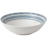 Cobalt Blue Chevron Cereal Bowl By Ed Ellen Degeneres Crafted By Royal Doulton | Ceramic | 7.9 in W x 7.9 in L x 2.3 in H