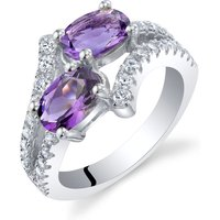 Amethyst Two Stone Ring in Sterling Silver