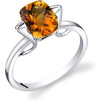 Cushion Cut Citrine Minmalistic Ring in 9ct White Gold